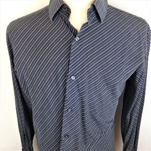 Banana Republic Mens Casual Black Striped Shirt L
